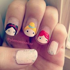A cutesy version of Disney princesses. | 16 Examples Of Disney Nail Art That Will Render You Speechless