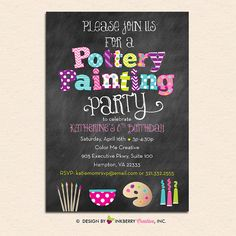 Adorable DIGITAL/PRINTABLE Pottery Painting Party Invitation - Chalkboard Style with Pottery Bowl, Brushes, Palette and Paints by Inkberry Creative, Inc. This design features a colorful mix of bright, bold, colors and patterns, a chalkboard background and features fun pottery painting