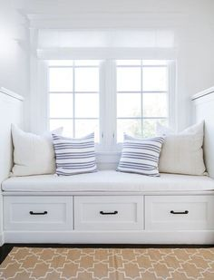 bright white window seat // Tour a Home Where Nantucket Charm Meets a Los Angeles Zip Code Home Decor Bedroom, Decor, Window Seat Design, House Design, Furniture, Interior, Home Decor, House Interior, Room Decor