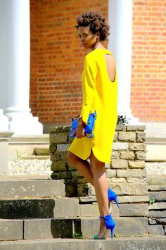 yellow dress and blue bag