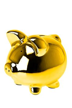 Adorable gold piggy bank - I must have her!