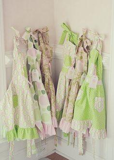 Little girl's party apron favors