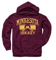 Minnesota Golden Gophers Maroon Wide Stripe Hockey Hooded Sweatshirt #minnesota #gophers #goldengophers