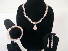 Rose Quartz gem stone pendant with sparkling pink by MDJewelCraft, $18.00