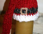 Santa Hat 14 inch deep red  baby Santa hat, Santa's belt in black with a sparkly gold buckle and white trim