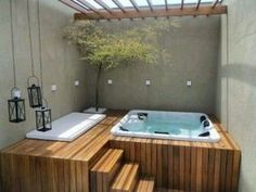 Outdoor jacuzzi wood bar idea not expensive outdoor jacuzzi wood bar idea .Outdoor jacuzzi wood bar idea not expensive outdoor jacuzzi wood bar idea … The proven method for outdoor hot tub step Hot Tub Deck, Hot Tub Backyard, Small Backyard Pools, Backyard Seating, Jacuzzi Outdoor Hot Tubs, Hot Tub Pergola, Pergola Patio, Whirlpool Deck, Small Inground Pool
