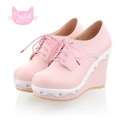Cute Pastel Pink Wedge from Pastel Kitty Store (€22) ❤ liked on Polyvore