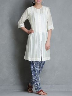 Buy Ivory-Indigo Pleated Button Down Kalidar Kurta with Block Printed Churidar Set of 2 by Raiman Sethi Online at Jaypore.com