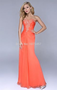 >> Click to Buy << New Arrival Orange Prom Gowns 2015 Sweetheart Long Elegant Crystal Baeded Dress To Party A Line Chiffon Vestido De Festa MC209 #Affiliate