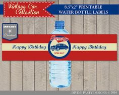 INSTANT DOWNLOAD Vintage Car Birthday Party Water Bottle Labels / Printable DIY / Classic / Retro / Vintage Car Collection / Item #1405