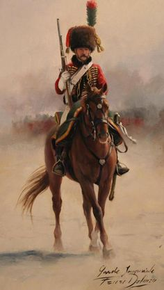 Chasseur a' Cheval of the Imperial Guard. Not sure about the guantlet style gloves as these were used mainly by dragoons and heavy cavalry. the Napoleonic Wars Military Art, Military History, Military Uniforms, French Army, Historical Art, Napoleonic Wars, Kaiser, American Civil War, Horses