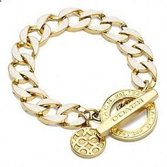 Love this Coach white gold toggle chain bracelet