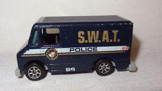 Police S. van or truck. Year made: Item: Matchbox Car. Swat Police, Ambulance, Vintage Toys, Hot Wheels, Vintage Photos, Diecast, Vans, Charity Cars, Trucks