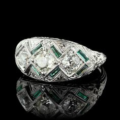 http://rubies.work/0025-emerald-earrings/ $600.00 $480.00 Vintage 18K White Gold Diamond and Emerald Ring