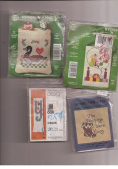 Stitch N Hang Christmas Designs Lot of  4 Counted Cross Stitch Kits NeedleMagic  #NeedleMagicInc #Ornaments