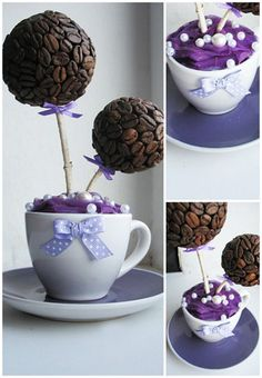 Who thought of this cute coffee bean topiary? Orignial, unique, and color customizeable!!