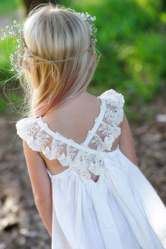 Ivory French Vanilla Dress with Off White Lace/ babies and girls from Tea Princess