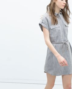 ZARA - DAMEN - Hemdkleid aus Leinen mit Gürtel