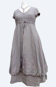 Lagenlook Italian Linen Mocha balloon dress. size medium (12/14) | eBay