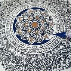 I was too excited to start colouring it .. the outlines still aren't finished. Hahahaah oh well.  #mandala #art #drawing #design #ink #dippen #navy #blue  #gold #pattern #patterns #floral #wip #mandalaartist #mandalaart #artist #zenart #zentangle #zendoodle #doodle #commission #instaart #instaartist #creative #passion #progress