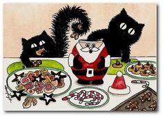 Peek n Boo Black Cats Holiday Hamster Filling Christmas Cookie Jar ACEO LE Print