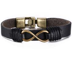 Leather Bracelet for Men Black Braided Rope Wrap Infinity 21cm
