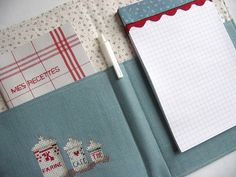 """https://flic.kr/p/6rrjE3   A List-Taker (Inside)   For a giveaway on my blog as part of Sew Mama Sew's May Giveaway Day.  """"mes recettes"""" is French for """"my recipes"""" farine, café, thé is French for flour, coffee, tea  The list-taker is designed by Jennifer Casa of JCasa Handmade and inspired by this one."""