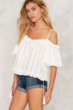 Marika Cold Shoulder Top - Clothes   Blouses   Summer Whites
