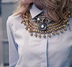 Layers of statement necklaces