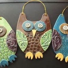 ... Owl ceramic hanging decoration - great ideas for salt dough and crafts