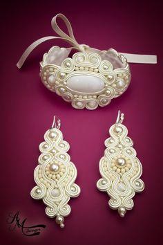 Handmade Bridal Wedding Jewelry Bracelet Earrings. Bridal Accessories. Beads Pearls Jewelry. Soutache Boho Chic Jewelry by #AMDesignSoutache