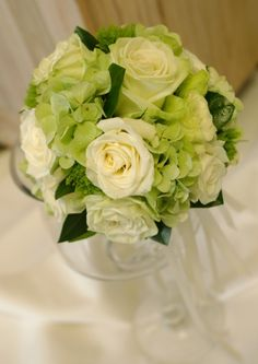 bridesmaid bouquet  green and white roses with green hydrangea @Sarah Bradley