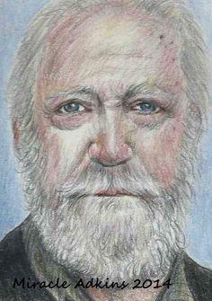 ACEO THE WALKING DEAD Hershel Greene Scott Wilson Portrait Card by MIRACLE  #Miniature