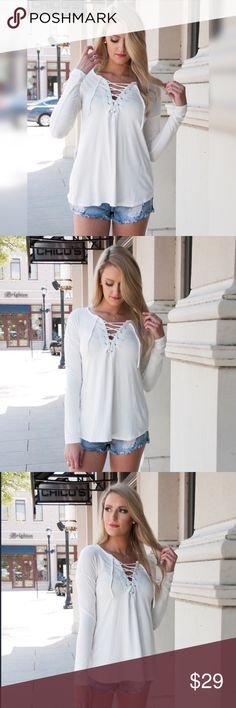 """Lace it up long sleeve top Long sleeve white top with lace up detail.   Made in USA  Fit: True to size S:2/4 M:6/8 L:10/12  Fabric: 96% rayon 4% spandex  Model: Mackenzie is 5""""7 wearing the small preppybohemian Tops Tees - Long Sleeve"""