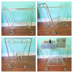 Rolling gold metal record storage cart - $33    Old Glory Antique Mall - Vendor 57  2000 Main St. Vancouver, Wa. 98660