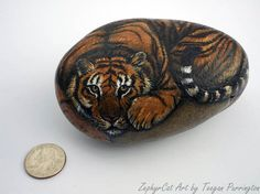 Hand Painted Tiger Rock - Reserved for Laketa715