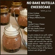 No bake nutella chocolate cheesecake 👍💚😋 No Bake Nutella Cheesecake, Cheesecake In A Jar, Best Cheesecake, Chocolate Cheesecake, Cheesecake Recipes, Dessert Recipes, Dessert Ideas, Choco Chocolate, Chocolate Dreams