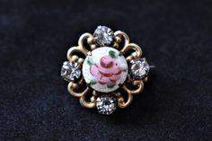 """Vintage Hand Painted Rose Flower Rhinestone Brooch Lapel Pin Delicate Retro Costume Jewelry 1/2"""" by DecoOwl5 on Etsy"""