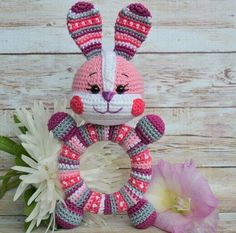 Buy The Bunny Is a rattle on wooden ring crochet Crochet Baby Toys, Crochet Bunny, Love Crochet, Crochet Motif, Crochet For Kids, Crochet Dolls, Baby Knitting, Crochet Patterns, Crochet Wreath