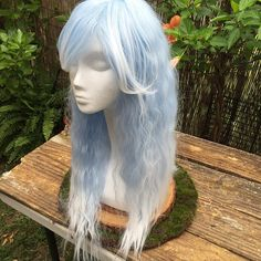 Icy Pale Blue and White Ombre Lolita by TerraFloraAdornments
