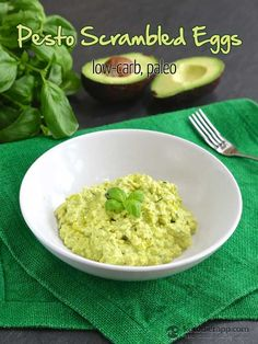 Pesto Scrambled Eggs (low-carb, keto, paleo)