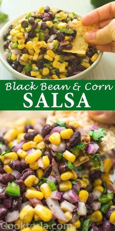 Made with black beans corn red onions jalapeños and cilantro this healthy and filling appetizer or snack is seriously delicious This Black Bean and Corn Salsa is m. Potluck Recipes, Healthy Recipes, Mexican Food Recipes, Vegetarian Recipes, Cooking Recipes, Vegan Vegetarian, Recipes With Kidney Beans Healthy, Recipes With Garbanzo Beans, Healthy Black Bean Recipes