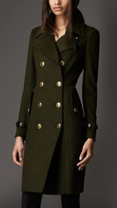 Burberry Leather Detail Wool Cashmere Coat