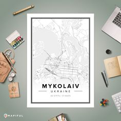 A map poster from Mapiful.com. A creative DIY tool to make your own map poster. This is 'Mykolaiv'