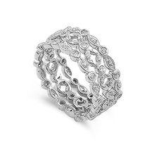Tri Row Eternity Filigree Cubic Zirconia Ring Sterling Silver 925 Size 5-10 CloseoutWarehouse-$44.58 http://www.amazon.com