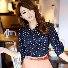 Tokyo Fashion - 3/4-Sleeve Ruffle Dotted Blouse