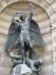St. Michael's Fountain on Boulevard Saint-Michel - Paris, France  Saint Michael the Archangel, defend us in battle; be our protection against the wickedness and snares of the devil. May God rebuke him, we humbly pray: and do thou, O Prince of the heavenly host, by the power of God, thrust into hell Satan and all the evil spirits who prowl about the world seeking the ruin of souls. Amen
