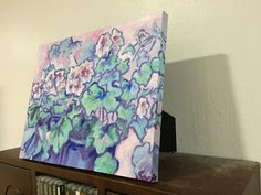 Pink Geranium - limited edition print on canvas (hand-finished and embellished) of an original oil painting by Snejana Videlova, $70