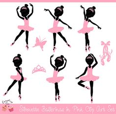 Ballerina Silhouettes in Pink Clipart Set by 1EverythingNice
