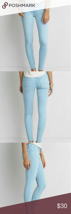 "AEO Denim X Super Low Jegging, Pants, Jeans I bought these and the didn't fit. They are very soft and stretchy. The ankles are a raw edge. Light blue color. New with tags and never worn? Style # 0327-9662? Size 2 regular?   Super Stretch, Power Fit High-performance stretch designed to hold its shape and hug your Curves Utilizes LYCRA dualFX technology for upgraded Stretch Natural fibers give a super-soft feel & increased Comfort Super low 7 3/4"" rise14"" back rise9 3/4"" leg opening for a…"